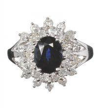 14CT WHITE GOLD SAPPHIRE AND DIAMOND CLUSTER RING