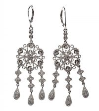 14CT WHITE GOLD AND DIAMOND DROP EARRINGS