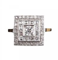 18CT GOLD AND DIAMOND ART DECO STYLE RING at Ross's Auctions