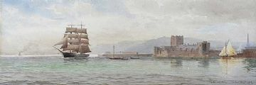 CARRICKFERGUS, 1916 by Joseph William  Carey RUA at Ross's Auctions