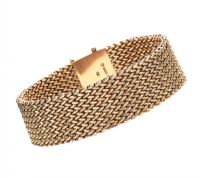 9CT GOLD MESH-LINK BRACELET at Ross's Auctions