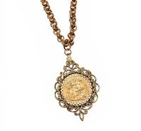 9CT GOLD CHAIN AND HALF-SOVEREIGN at Ross's Auctions
