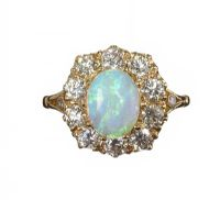 18CT GOLD OPAL AND DIAMOND CLUSTER RING at Ross's Auctions