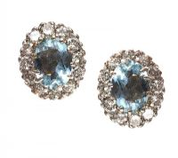 18CT GOLD AQUAMARINE AND DIAMOND EARRINGS at Ross's Auctions