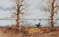 BIRDS OVER WETLANDS by Robin Atkinson MA at Ross's Auctions