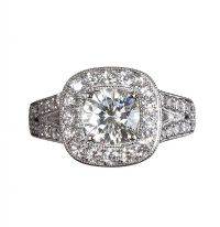 18CT WHITE GOLD DIAMOND AND MOISSANITE RING at Ross's Auctions