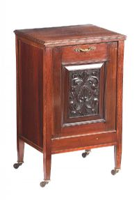 EDWARDIAN MAHOGANY FALL FRONT COAL CABINET at Ross's Auctions