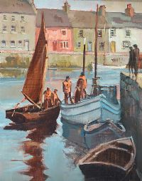 DIVIDING THE CATCH, GALWAY by Cecil Maguire RUA at Ross's Auctions