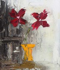 RED FLOWERS IN A YELLOW VASE by Colin Flack at Ross's Auctions