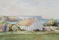 THATCHED COTTAGE ON THE ANTRIM COAST by Maurice Canning  Wilks ARHA RUA at Ross's Auctions
