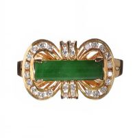 14CT GOLD JADE AND DIAMOND RING by Jade at Ross's Auctions