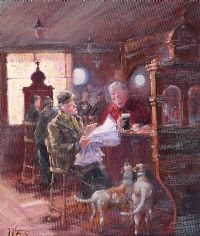 STUDYING THE FORM, CROWN BAR, BELFAST by Gerry Glynn at Ross's Auctions