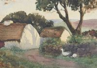 COTTAGES, COUNTY ANTRIM by William Robert Gordon RUA at Ross's Auctions
