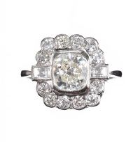 18CT WHITE GOLD DIAMOND CLUSTER RING IN THE STYLE OF ART DECO at Ross's Auctions