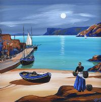 BALLYCASTLE BOATSLIP BY MOONLIGHT by J.P. Rooney at Ross's Auctions