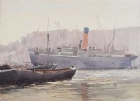 BOATS ON THE RIVER LAGAN by William Conor RHA RUA at Ross's Auctions