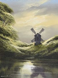 WINDMILL BY THE WATER'S EDGE by David H. James at Ross's Auctions