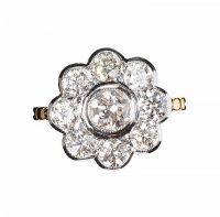 18CT GOLD DIAMOND DAISY CLUSTER RING at Ross's Auctions