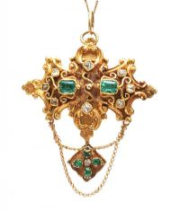 VICTORIAN 18CT EMERALD AND DIAMOND BROOCH PENDANT at Ross's Auctions