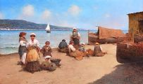 BEACH SCENE, CEFALU, SICILY, ITALY by G. Golia at Ross's Auctions