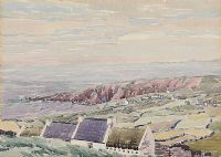 COTTAGES, WEST OF IRELAND by Walter Garrett at Ross's Auctions
