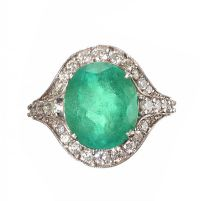 18CT WHITE GOLD EMERALD AND DIAMOND RING at Ross's Auctions