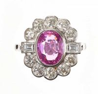 PLATINUM FANCY PINK SAPPHIRE AND DIAMOND CLUSTER RING at Ross's Auctions