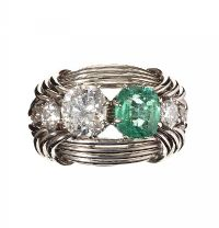 ANTIQUE FRENCH 18CT WHITE GOLD EMERALD AND DIAMOND RING at Ross's Auctions