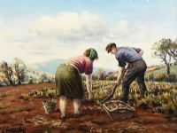 DIGGING POTATOES by Charles McAuley at Ross's Auctions