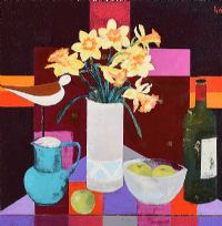 FLOWERS & VINTAGE WINE by David Gordon  Hughes at Ross's Auctions