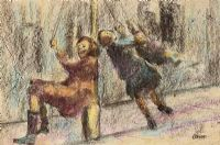 CHILDREN ON THE LAMPPOST SWING by William Conor RHA RUA at Ross's Auctions