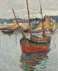 FISHING BOAT, ARDGLASS by Georgina Moutray Kyle RUA at Ross's Auctions