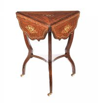 ROSEWOOD TRIANGULAR DROP LEAF OCCASIONAL TABLE at Ross's Auctions