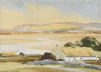 THATCHED COTTAGES, COUNTY DONEGAL by Maurice Canning  Wilks ARHA RUA at Ross's Auctions