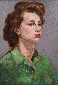PORTRAIT OF A GIRL IN A GREEN DRESS by English School at Ross's Auctions