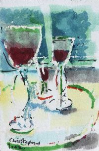 STILL LIFE, RED WINE by Chris Stephens at Ross's Auctions