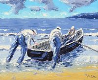 LAUNCHING THE CURRACH by Ivan Sutton at Ross's Auctions