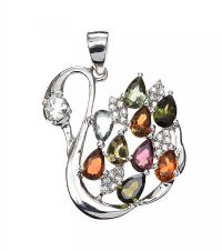 STERLING SILVER GEM-SET SWAN PENDANT at Ross's Jewellery Auctions