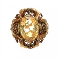 ANTIQUE 9CT GOLD CITRINE RING at Ross's Jewellery Auctions