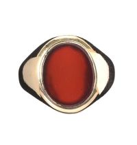 9CT GOLD CARNELIAN SIGNET RING at Ross's Jewellery Auctions