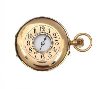 18CT GOLD HALF-HUNTER LADY'S POCKET WATCH at Ross's Jewellery Auctions