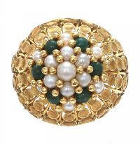 18CT GOLD PEARL AND JADE RING