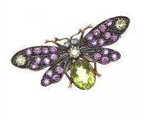 SILVER GILT BUTTERFLY BROOCH SET WITH AMETHYST AND PERIDOT at Ross's Jewellery Auctions