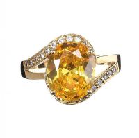 14CT GOLD CITRINE AND CRYSTAL DRESS RING at Ross's Jewellery Auctions