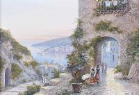 THE FLOWER SELLER, ITALIAN COAST & A VIEW OF THE ITALIAN COAST by M. Gianni at Ross's Auctions