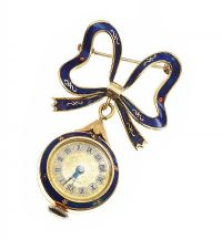 18CT GOLD ENAMEL FOB WATCH/BROOCH at Ross's Jewellery Auctions