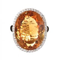 18CT GOLD CITRINE AND DIAMOND DRESS RING at Ross's Jewellery Auctions