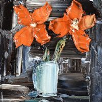 ORANGE FLOWERS IN A VASE by Colin Flack at Ross's Auctions