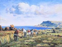 WORKING IN THE FIELD NEAR CUSHENDUN by Charles McAuley at Ross's Auctions
