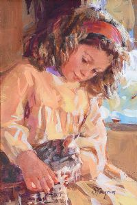 GIRL WITH A KITTEN by Dianne Flynn at Ross's Auctions